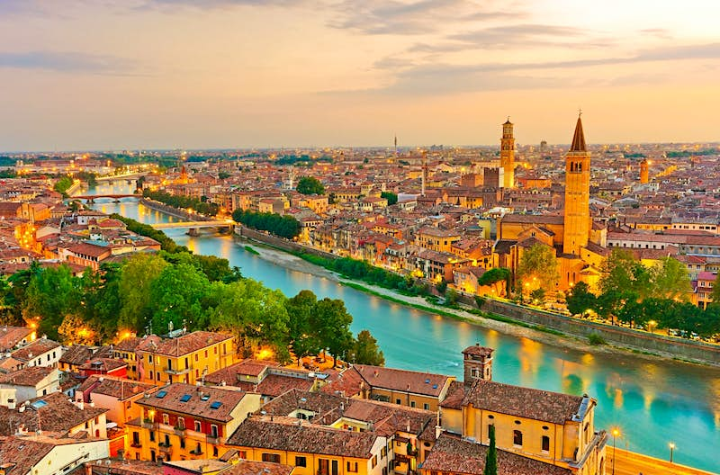 Sunset view over Verona, showing the river and rooftops