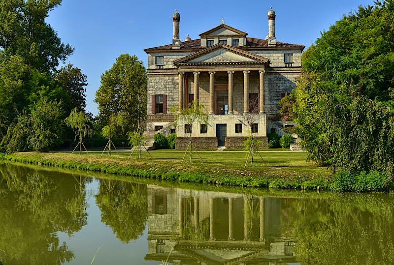 Palladio's symmetrical Villa Foscari sits on the edge of the Brenta Canal