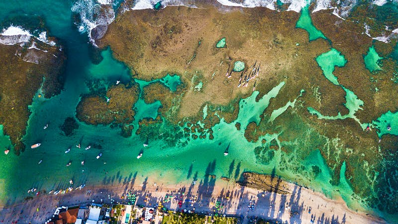 An aerial view of the inlets off Porto de Galinhas beach, Brazil