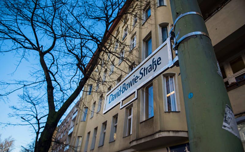 A street sign reading David Bowie Strasse is pictured in Berlin's Hauptstrasse as a tribute to British rock icon David Bowie outside his former home in Hauptstrasse 155 in Berlin