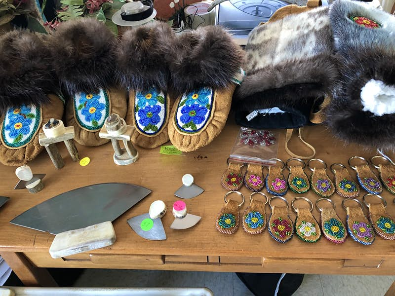 Fur lined moccasins and keychains are some of the hand-crafted items on display and for sale at a Northwest Territories shop