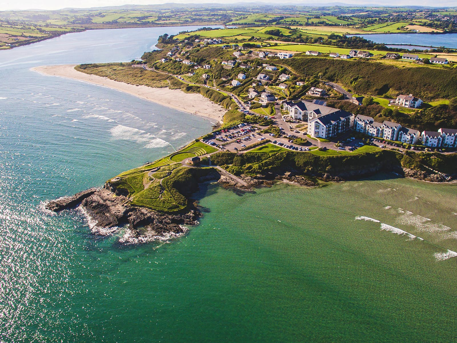 An aerial view over Inchydoney beach