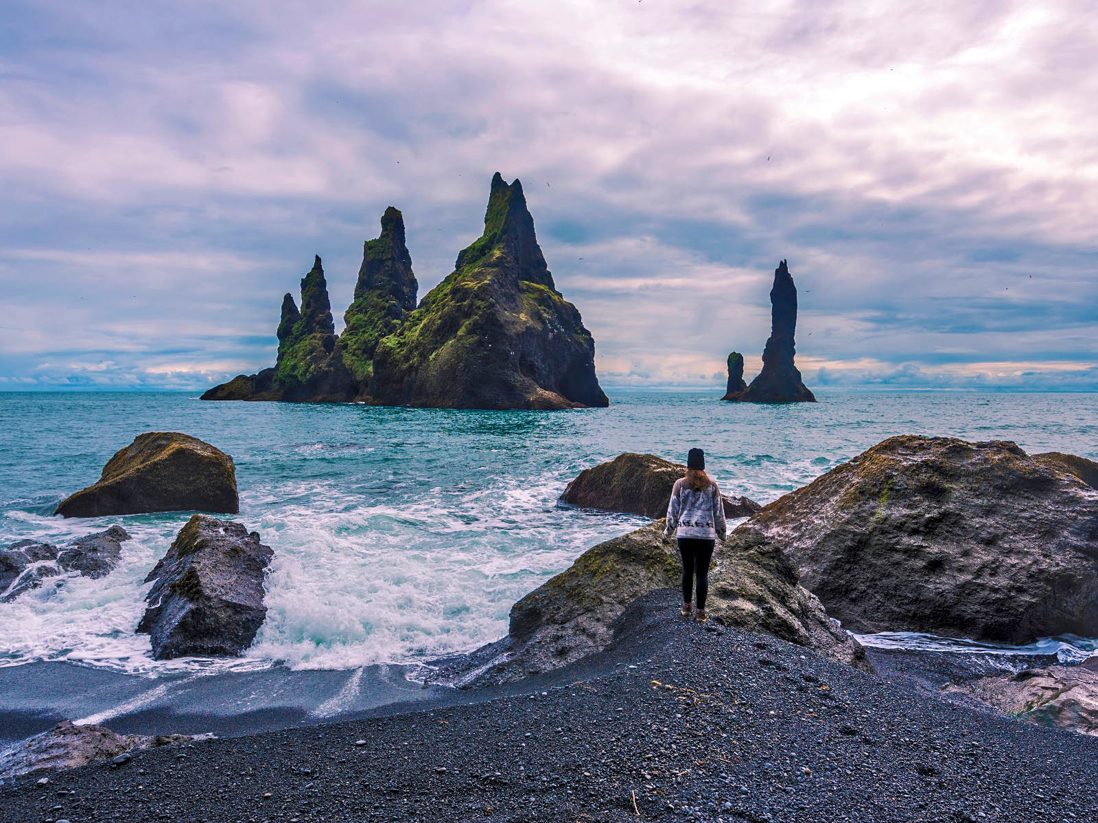 Looking out towards the Reynisdrangar basalt sea stacks from Reynisfjara Beach