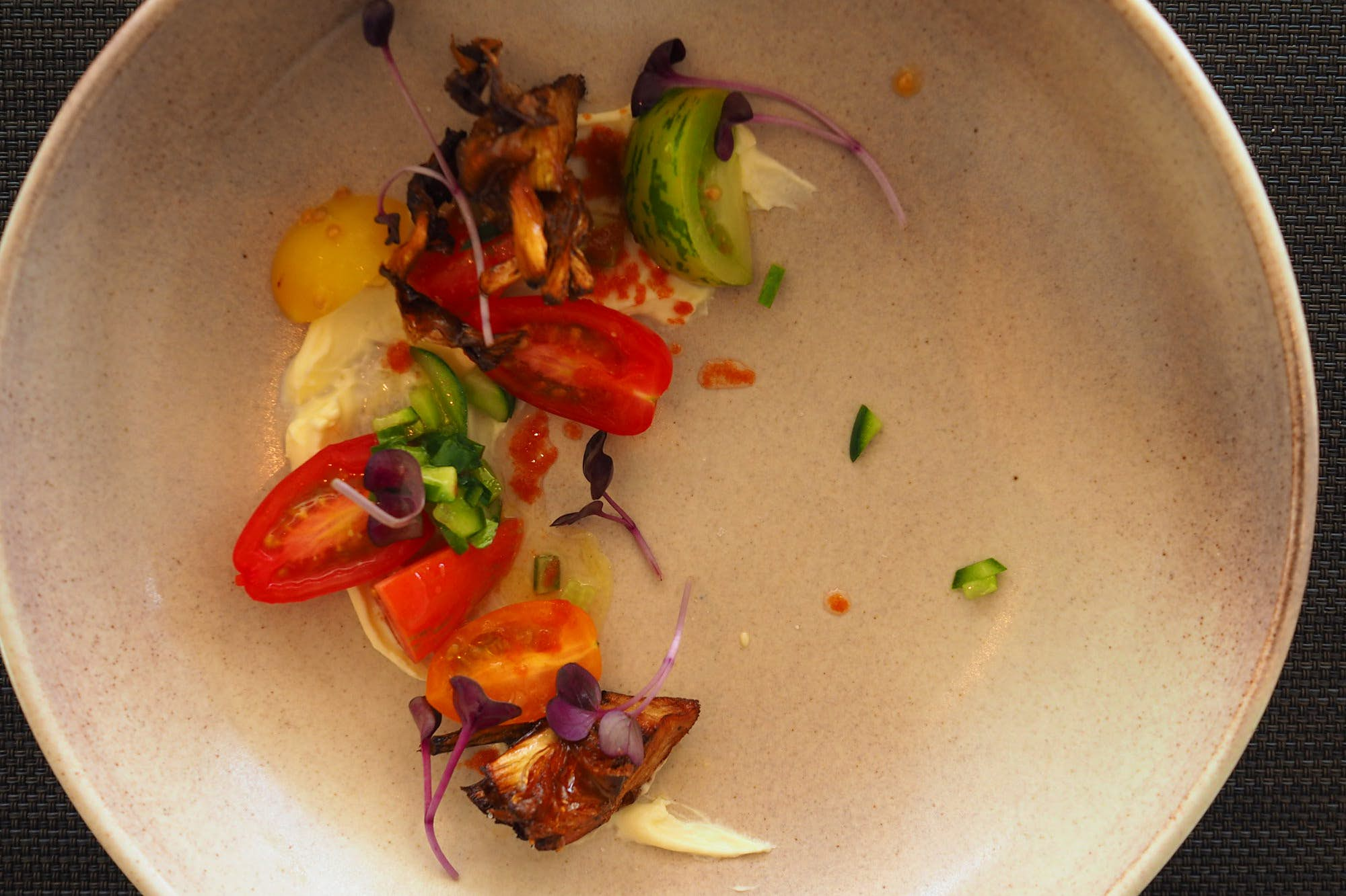 Kangaroo Island food - Southern Ocean Lodge meal of fresh vegetables and a light dressing
