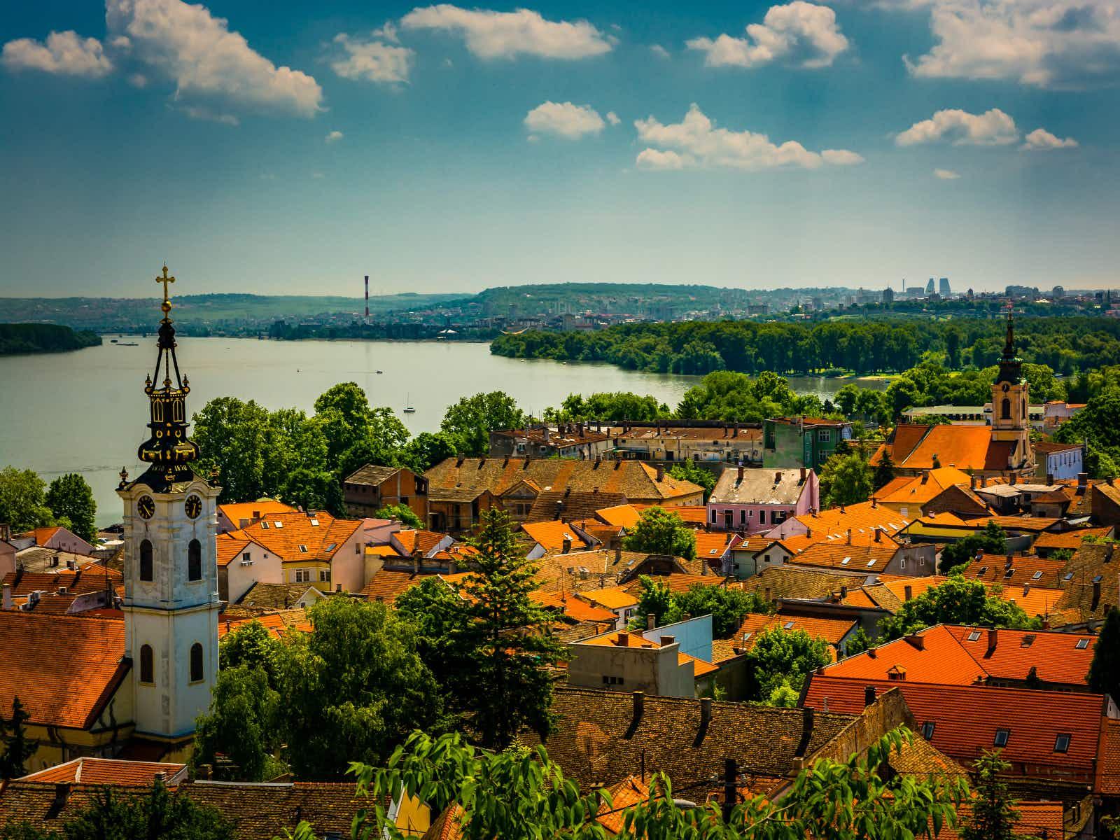 View over Zemun's quaint rooftops and the Danube from Gardoš Tower ©Evgeni Fabisuk/ Shutterstock