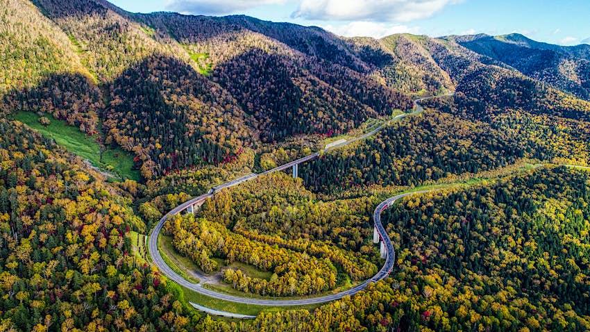 An aerial shot of the Mikuni Pass in Hokkaido, Japan