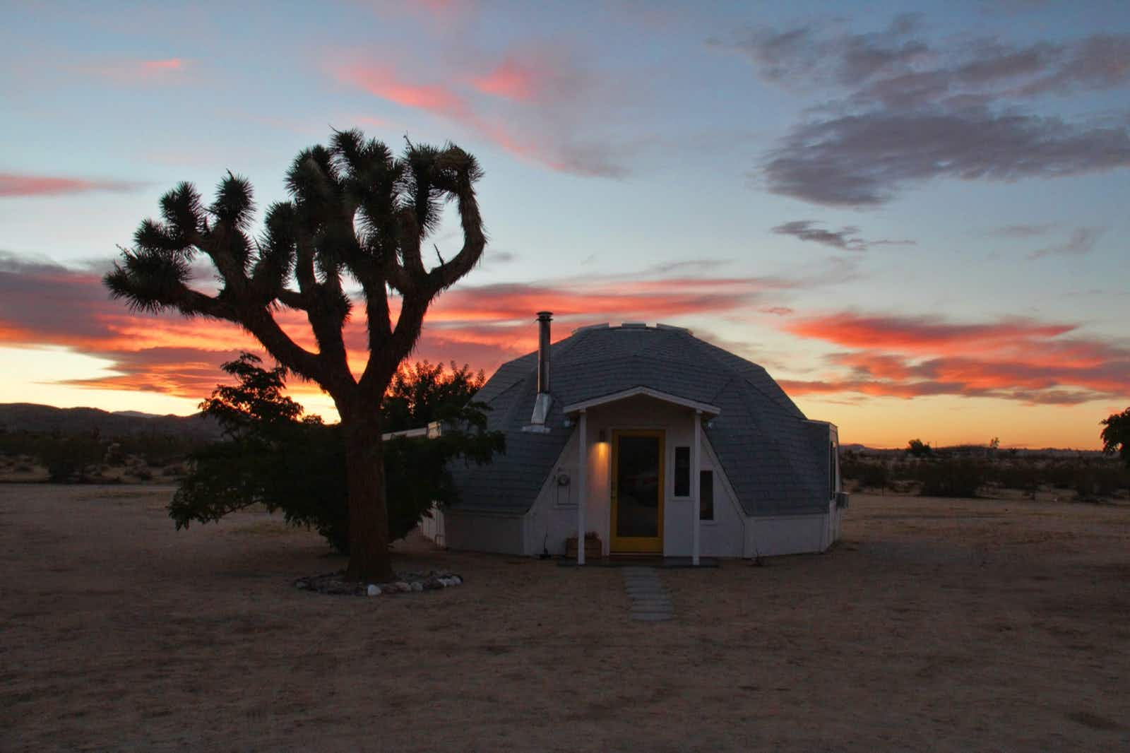 A geo-dome house in a desert next to a Joshua Tree