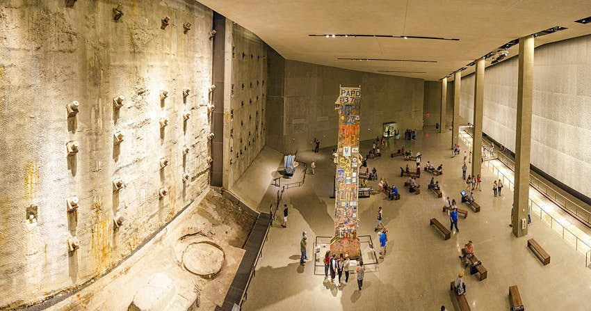 A subterranean concrete wall in the National September 11 Memorial Museum, New York City