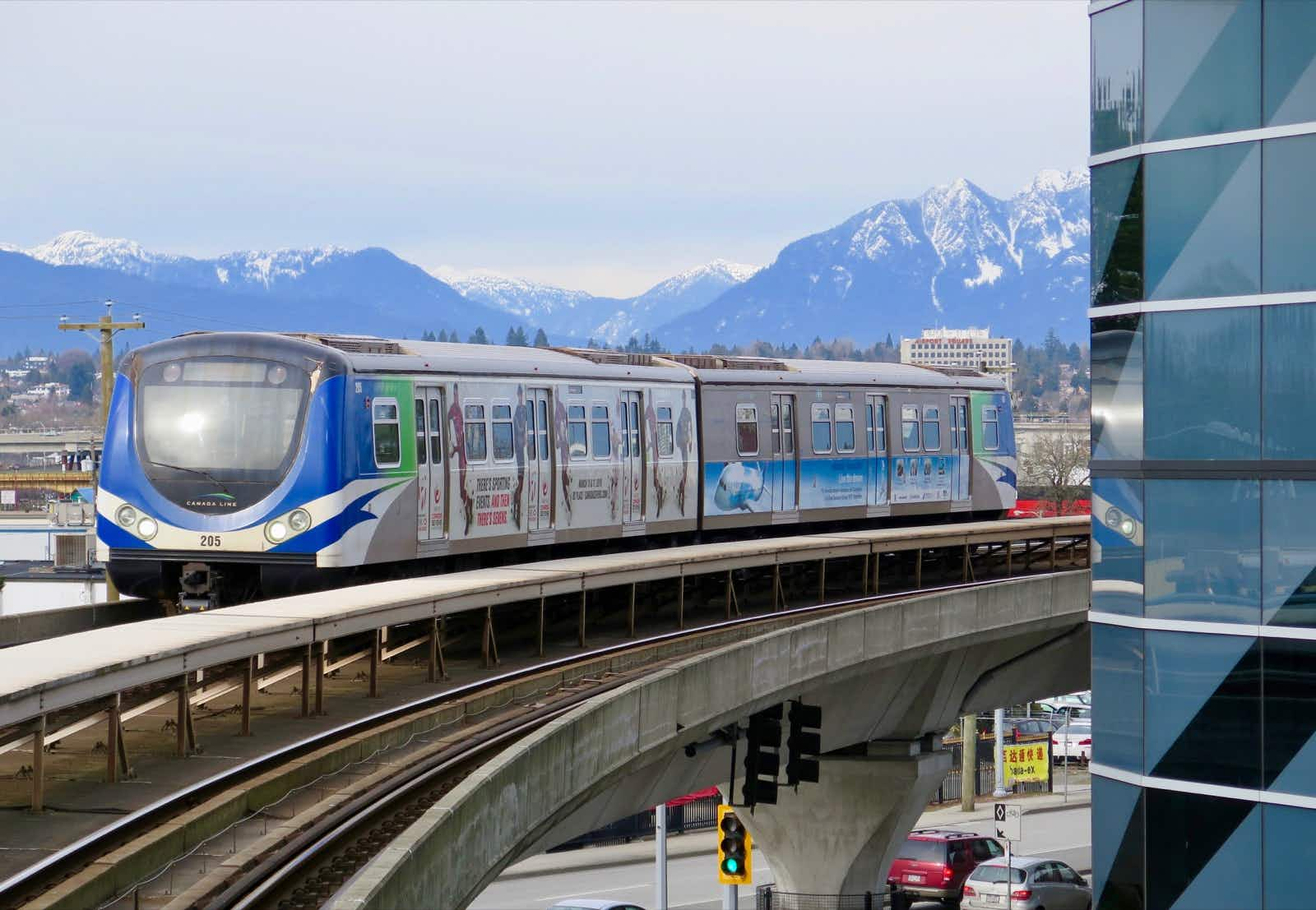 A Canada Line train of the SkyTrain system pulls into Aberdeen Station in Vancouver © John Lee / Lonely Planet