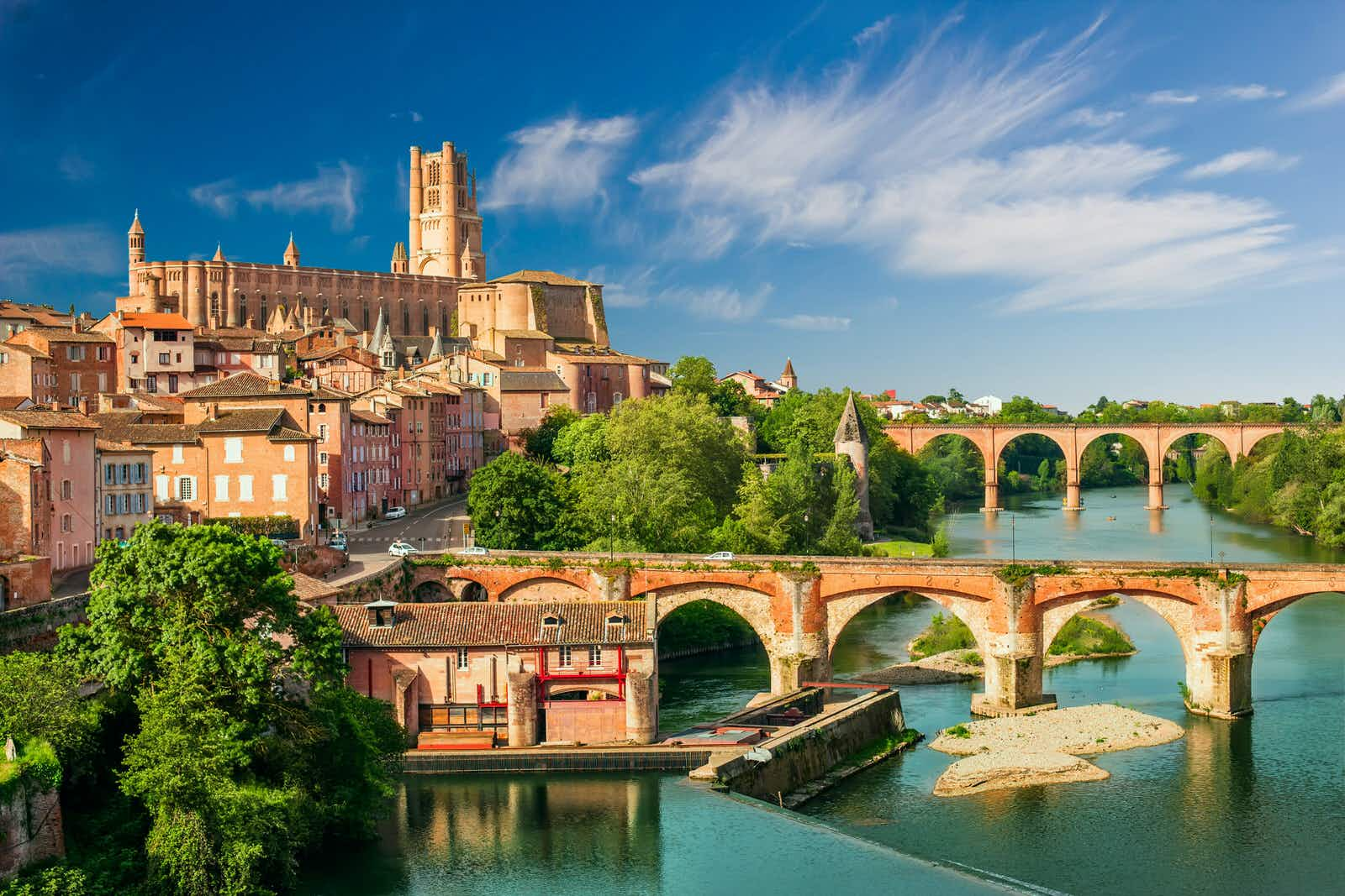 The town of Albi is dominated by the enormous redbrick Cathédrale Ste-Cécile, which sits on a hill above the rest of the town and the River Tarn