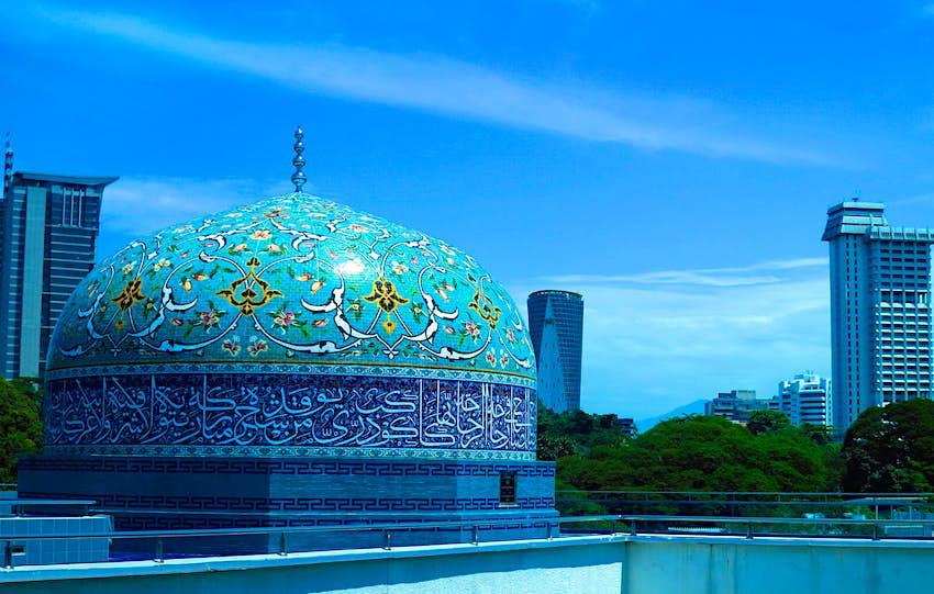 The intricate dome of the Islamic Arts Museum in Kuala Lumpur
