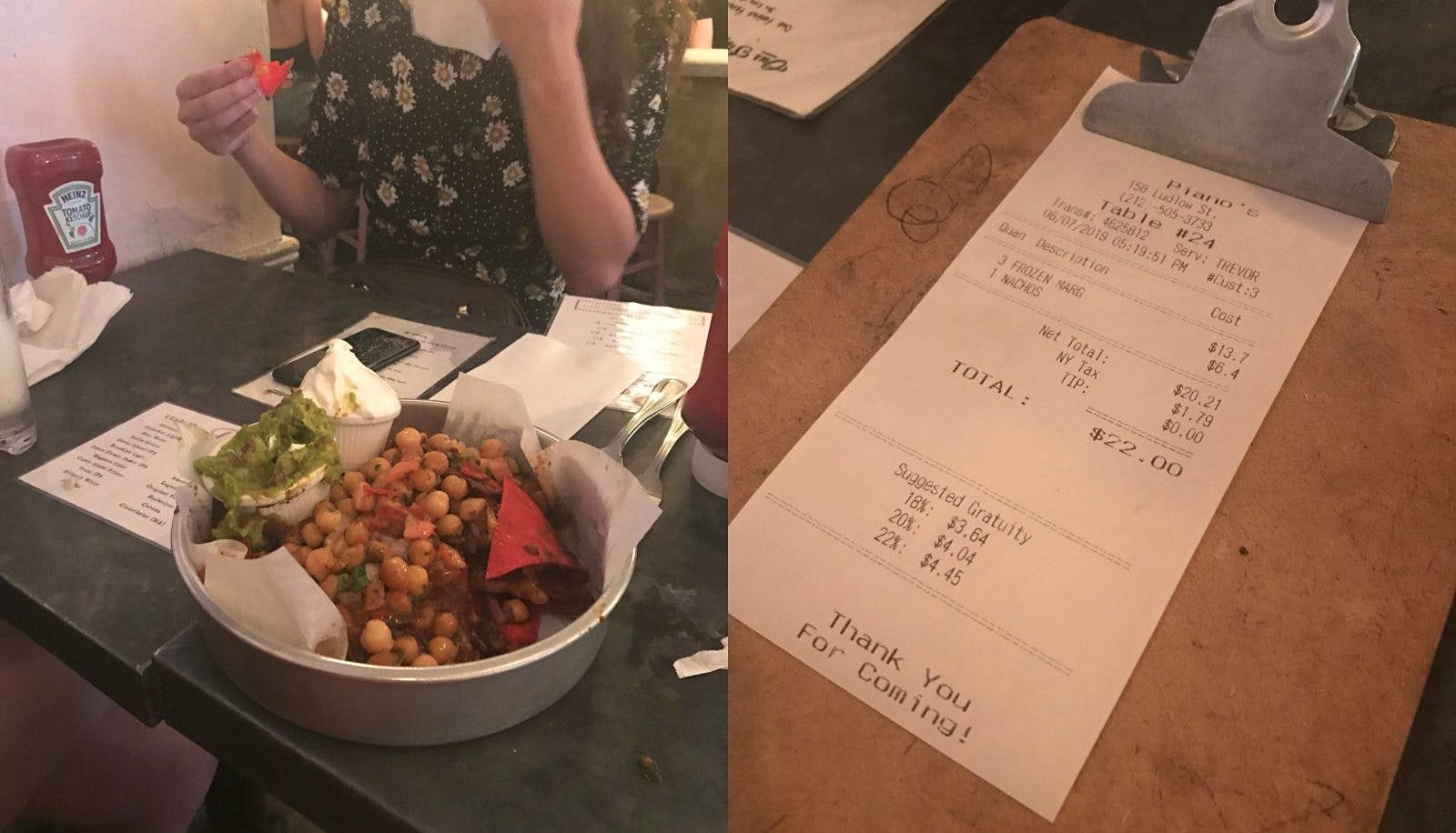 Two images: the image on the left is of a table with a large dish of loaded nachos and two menus. The second image is of the bill for the food and drinks.
