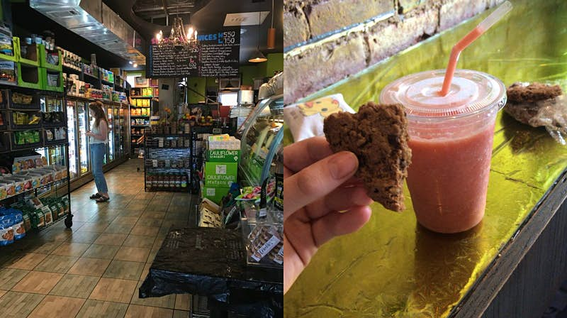 Two images. The left image is of a young woman gazing into a fridge in a NY deli. The second photo shows a half-eaten cookie and a milkshake on a counter.