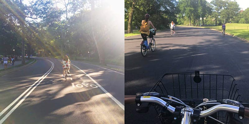 Two images of cycling through Central Park from the cyclist's point of view.