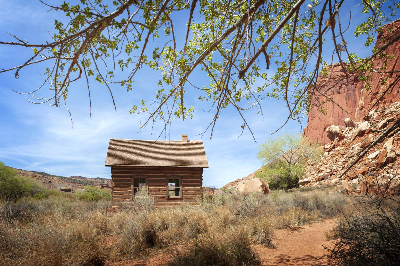 A tiny wooden cabin in the red landscape of Utah with branches overhanging in the foreground.