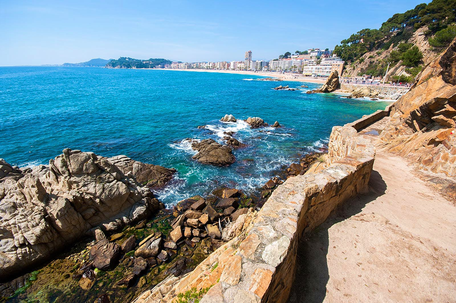 Lloret de Mar seen from the famous 'Camí de Ronda' along the Costa Brava in Catalonia, Spain.
