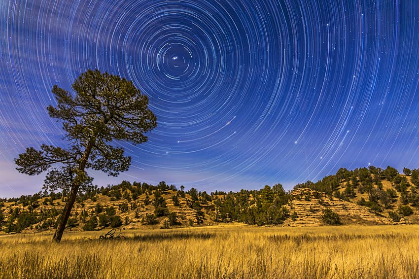 Circumpolar star trails over the moonlit Mimbres Valley near Lake Roberts in the Gila National Forest, in southwest New Mexico.