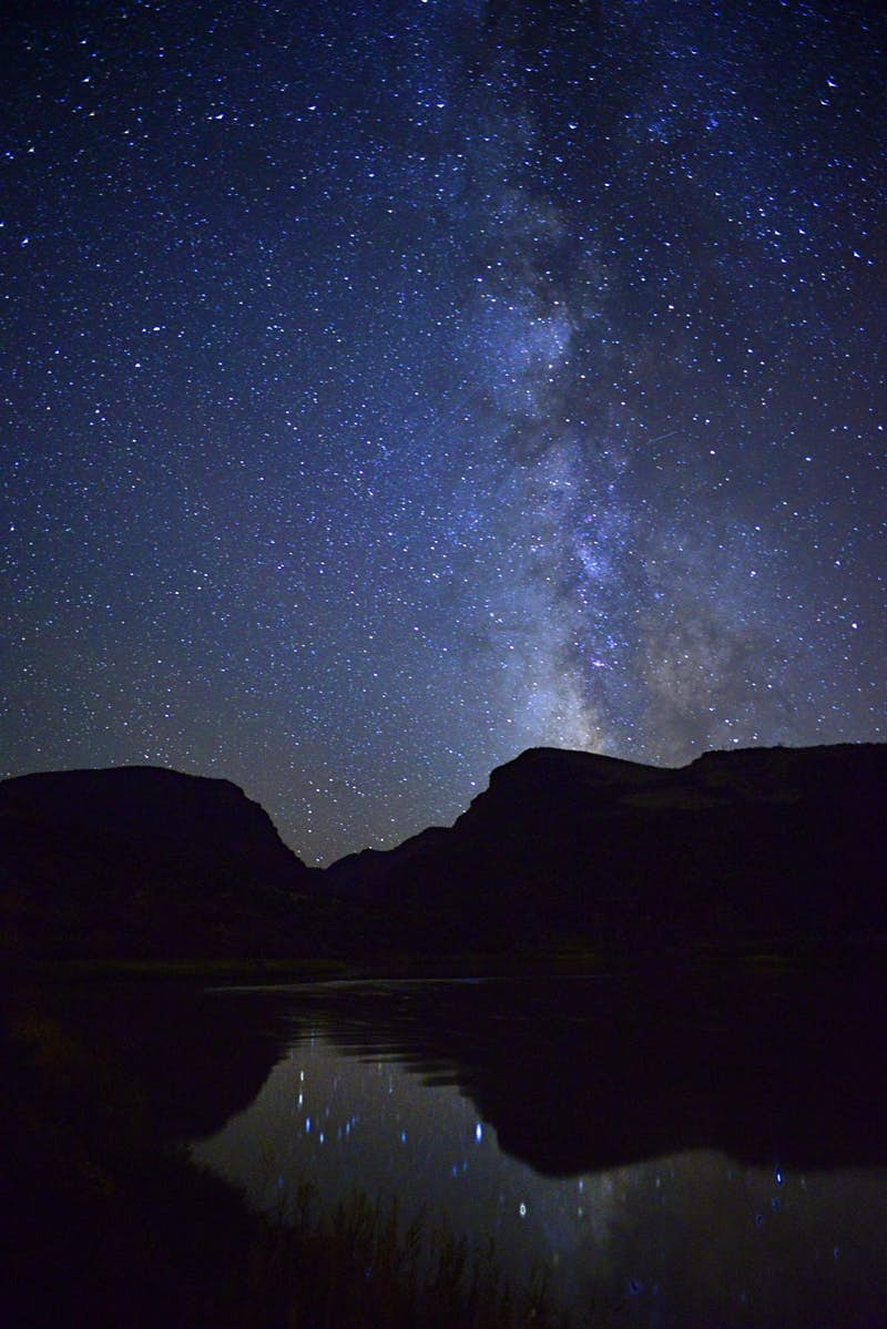 Night sky over gates of Lodore in Dinosaur National Monument