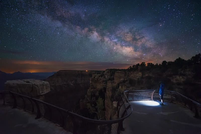 A person watching the Milky Way in Grand Canyon National Park