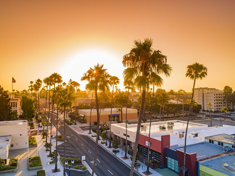 A stretch of road flanked by tall palm trees leads to the dramatic orange sunset and is lined by multi-colored boxy buildings and tall palm trees