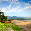 Outrigger canoe near the beach of Hanalei Bay just after sunrise.