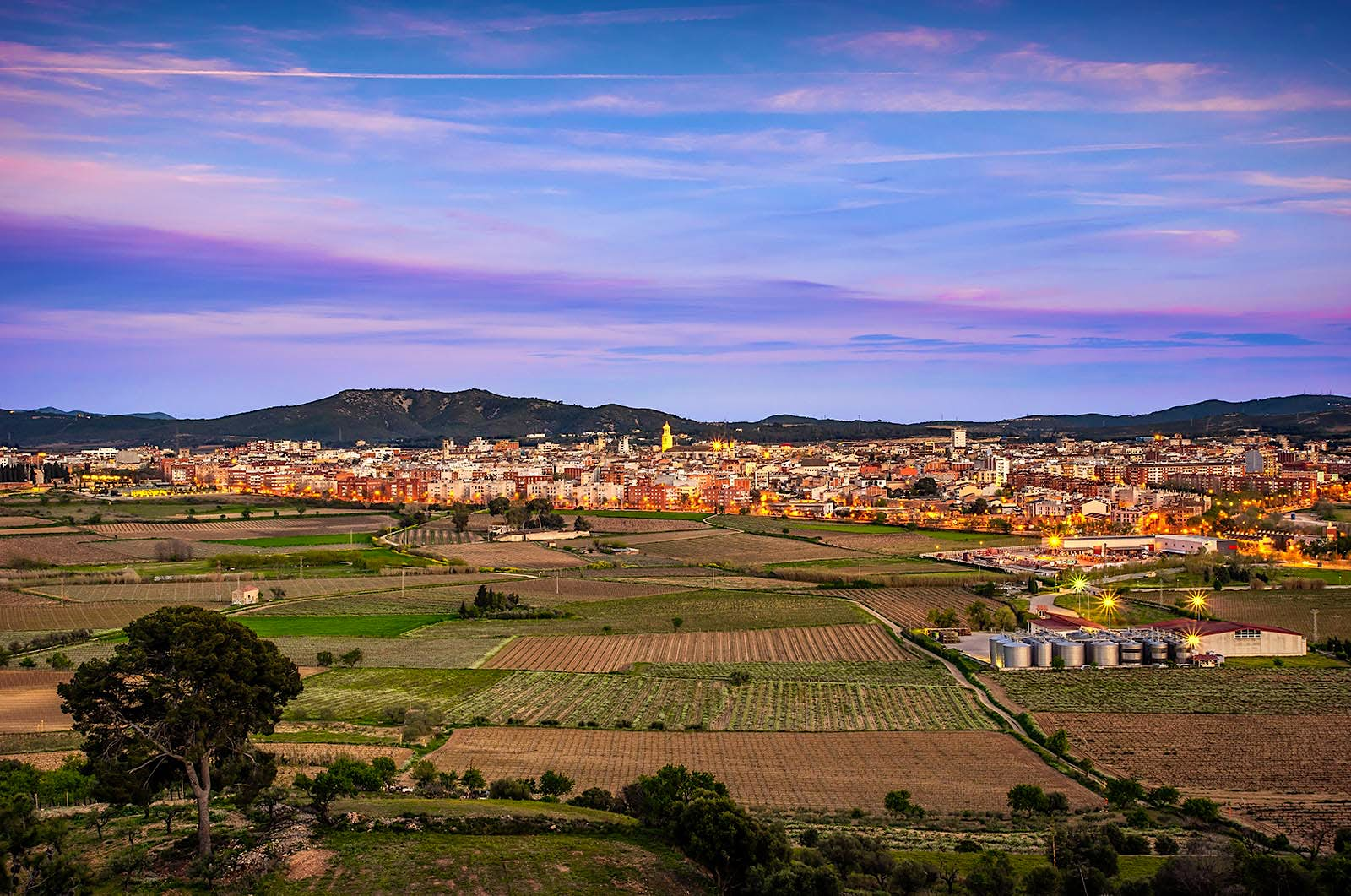 Panoramic view of Vilafranca del Penedès in Catalonia, Spain, at sunset.