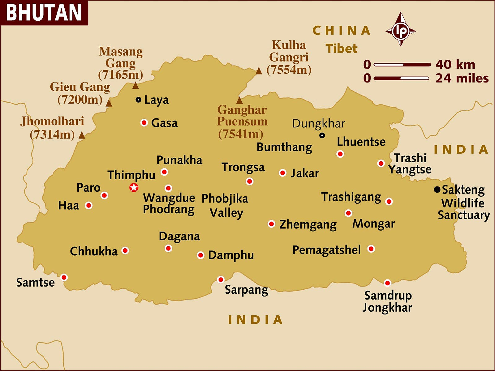 A Lonely Planet map of Bhutan showing major towns, villages, mountains and wildlife sanctuaries.