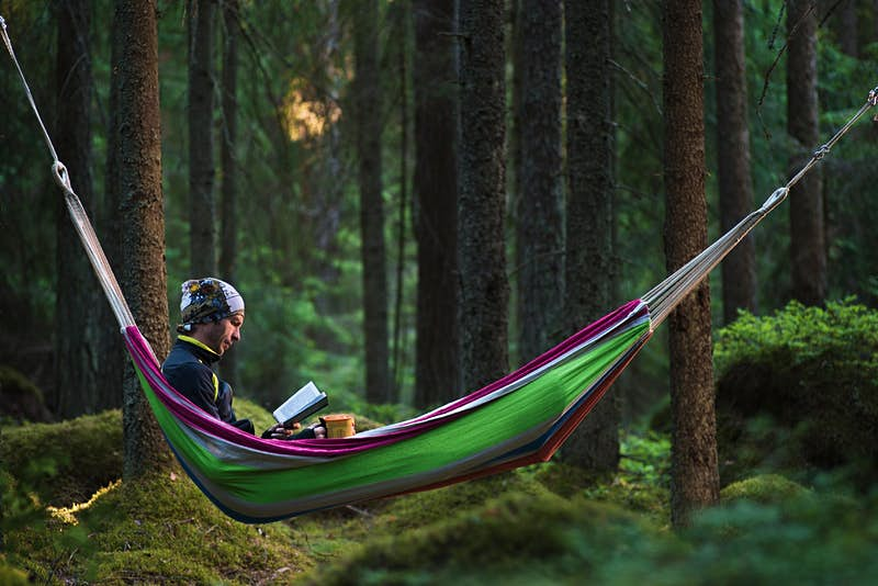 A man reads in a hammock in the woods while camping.