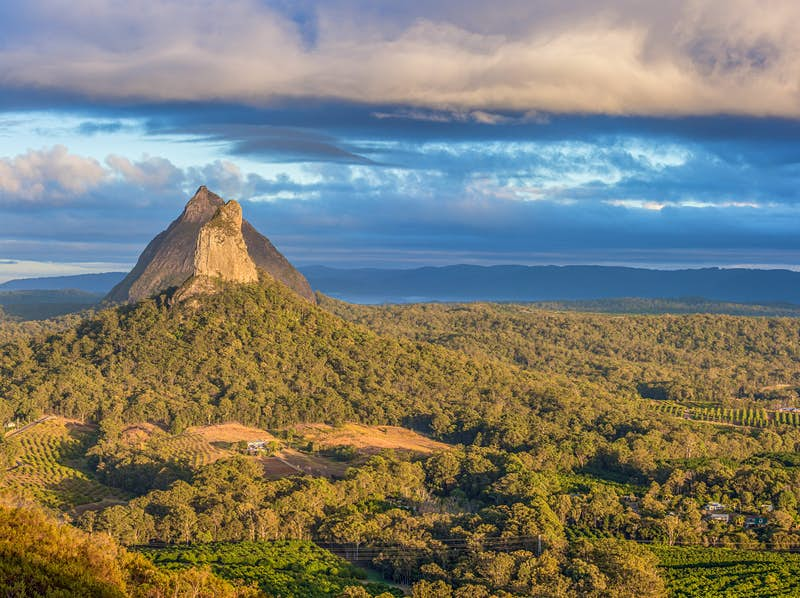 Rising pointedly out of a sea of forest and into a moody sky of dark clouds, pulled like cotton candy across a blue sky, is a rocky volcanic plug in Brisbane's Hinterland; like patches on a quilt, there are a few orchards within the foreground sections of forest