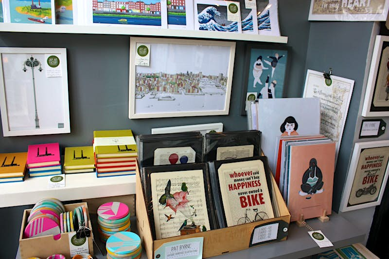 Dublin independent shops - a close shot of products on sale at Jam Art Factory showing prints and artwork