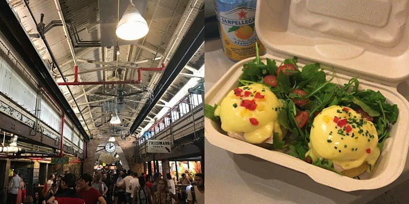 Two images: the right image is an interior shot of Chelsea Market with people milling around the various dining options. The left image is a close up of eggs benedict in a carton from Sarabeth's Bakery. A can of San Pellegrino sits to the left of the container.