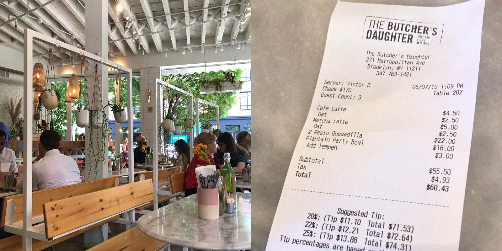 Interior shot of The Butcher's Daughter restaurant and an image of the bill for all three diners.