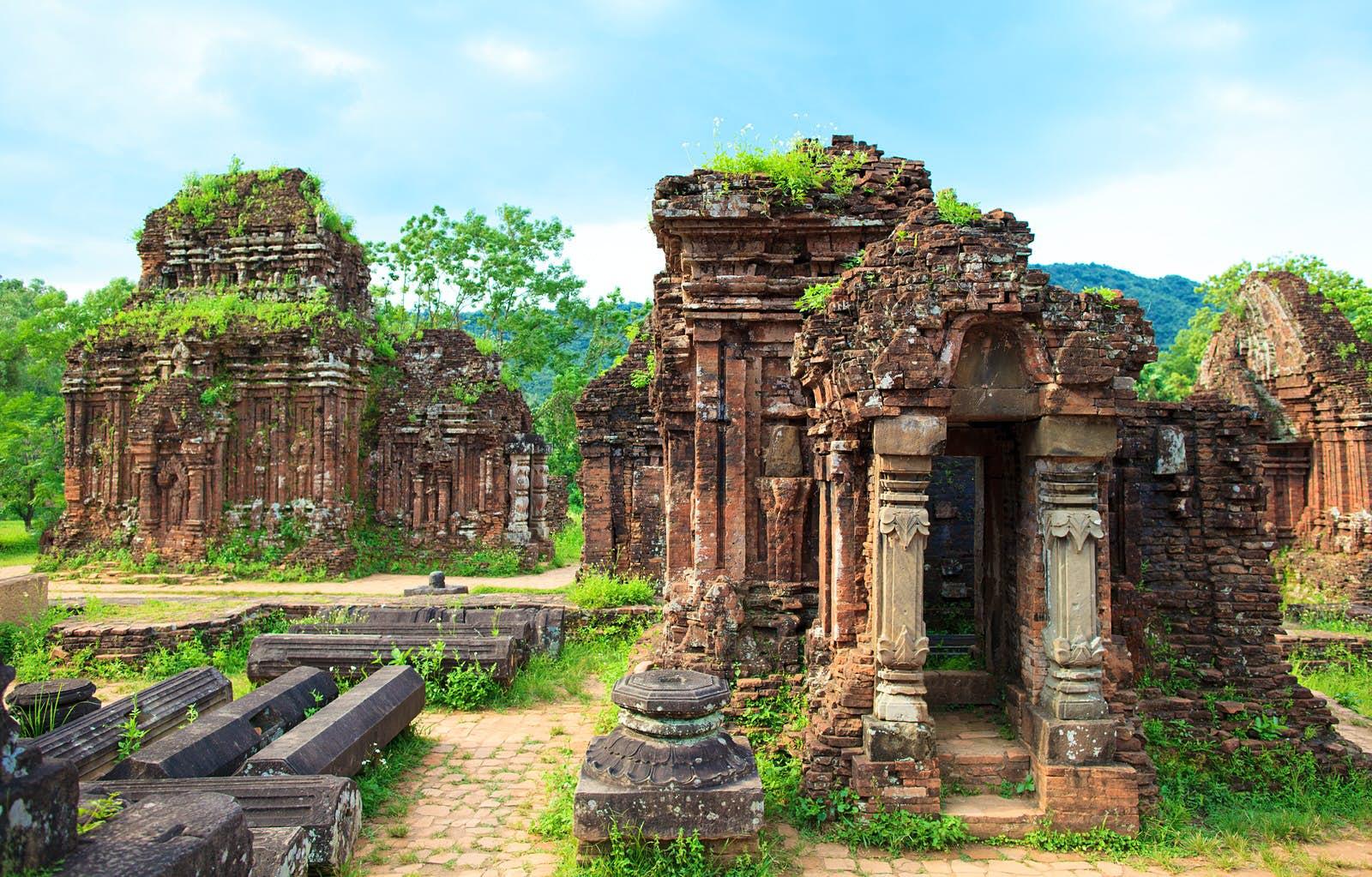 The remains of some columned temples, with plants growing from the top of them can be seen at the Cham ruins near Hoi An