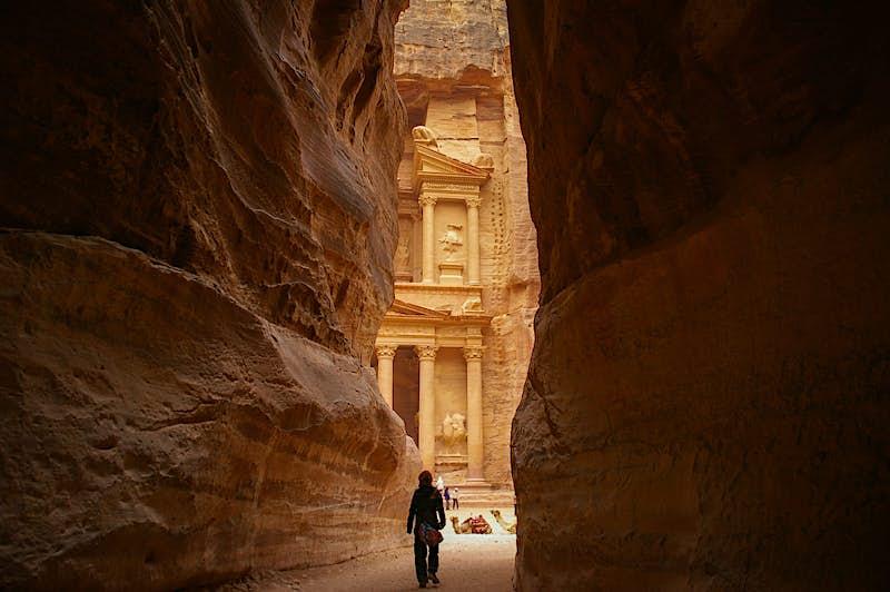 A view of the Treasury from the Siq at Petra, Jordan