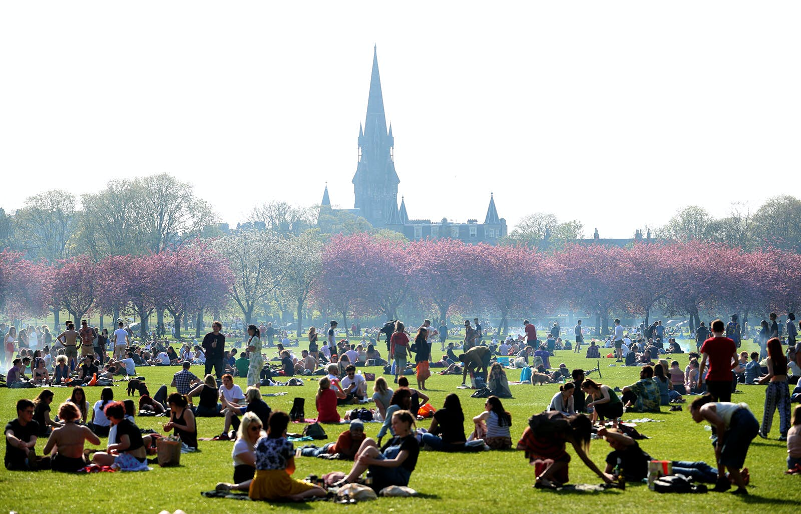 People enjoy the sunshine in The Meadows, Edinburgh. There is smoke from barbecues dotted around the park, there are cherry blossom trees blooming in the background and lots of people sitting on the grass in groups. A church steeple is visible in the background.