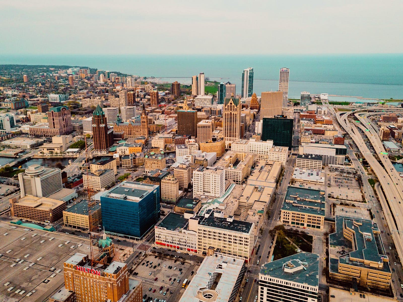 Aerial of Milwaukee skyline with Lake Michigan in the background; Midwest travel ideas