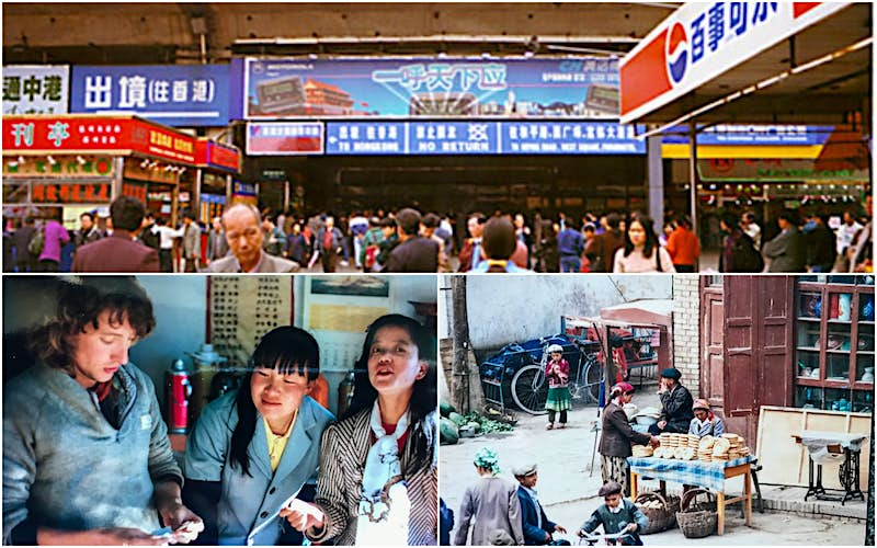 (Clockwise) Chinese Immigration checkpoint at Shenzhen, 1988; Uighur flat bread stall, Kashgar, Xinjiang, 1988; The author settling the bill at the legendary Pete's cafe, Lijiang 1989