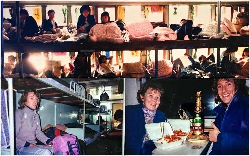 Three photos: clockwise from above: Wuzhou - Canton Ferry, numerous people crowded in and lying down in 1988; Steve and a friend on an express train to Chengdu; Steve in 4th Class on the Yangtze River somewhere between Wuhu and Chongqing, Dec 1990