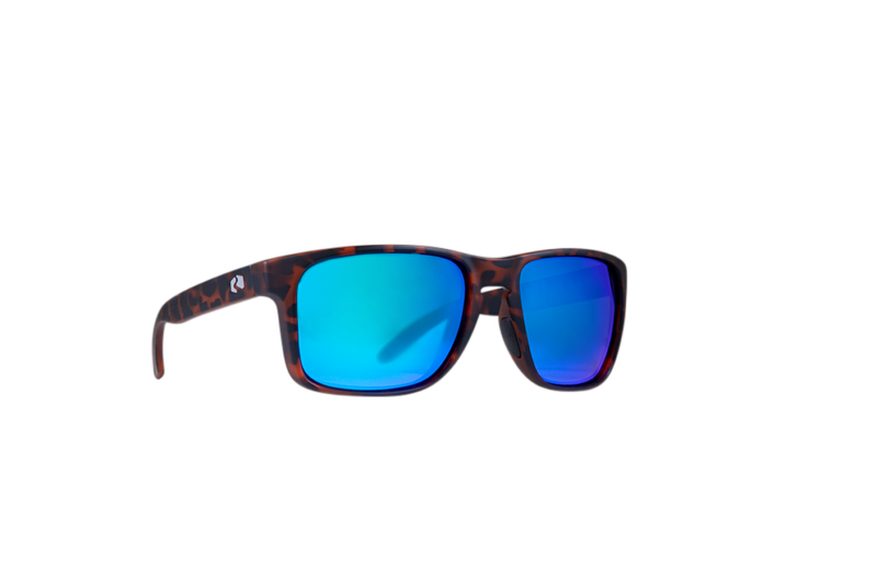 Product shot of sunglasses with blue lenses; beach gear