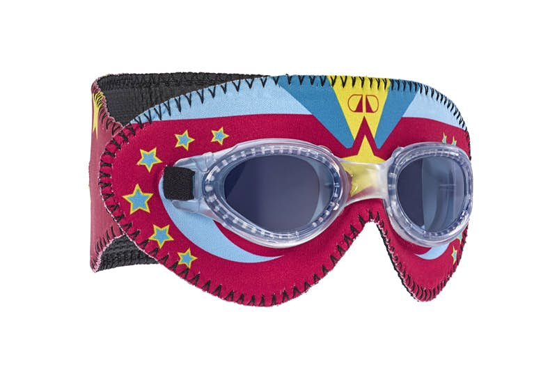 Product shot of goggles with funky designs; beach gear