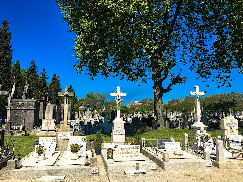 A series of eleborate headstones and tombs sits amongst the lawns and trees of the Repouso cemetery; free things to do in Porto