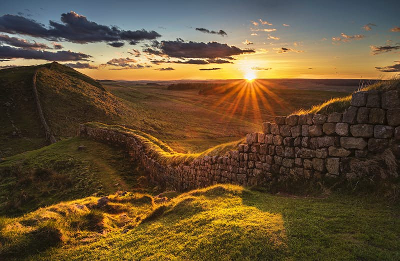 Sunset over Rapishaw Gap on Hadrian's Wall, Northumberland, England