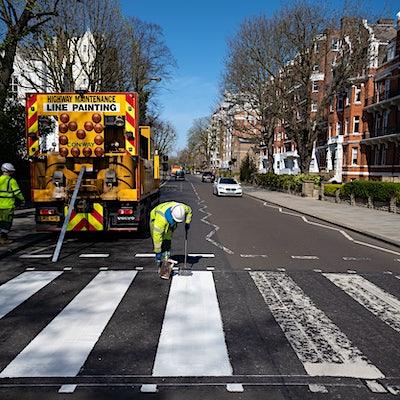 Beatles' Abbey Road crossing repainted during London lockdown