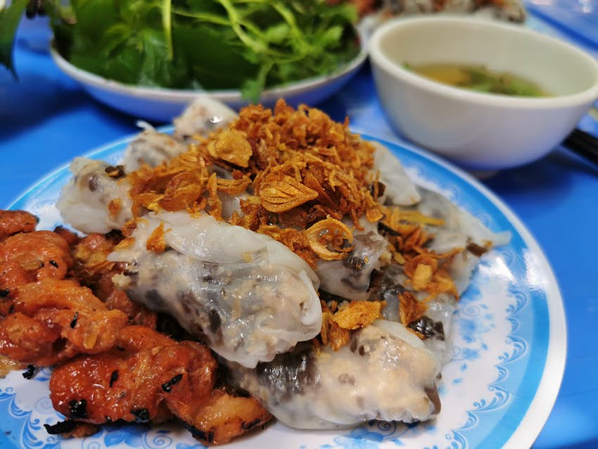 Vietnamese paper rolls are usually stuffed with minced pork and mushrooms.