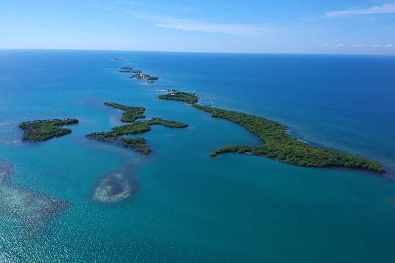 An aerial view of a green island in sparkling blue water