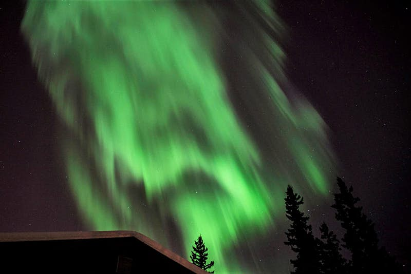 The northern lights as seen from Billie's Backpackers Hostel in Alaska