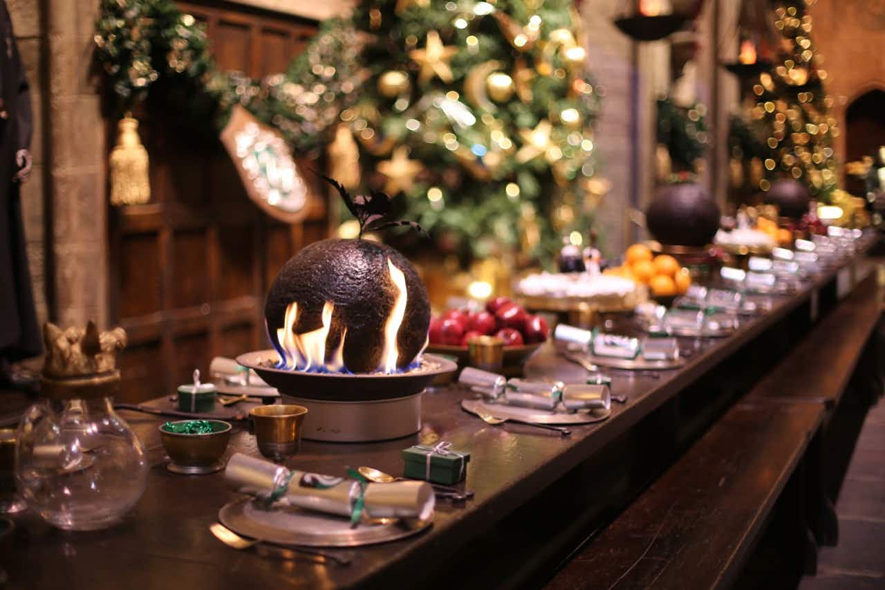 Hogwarts in the Snow returns to Warner Bros. Studio Tour London for another year—flaming Christmas puddings and all. Image: Warner Bros. Studio Tour London – The Making of Harry Potter