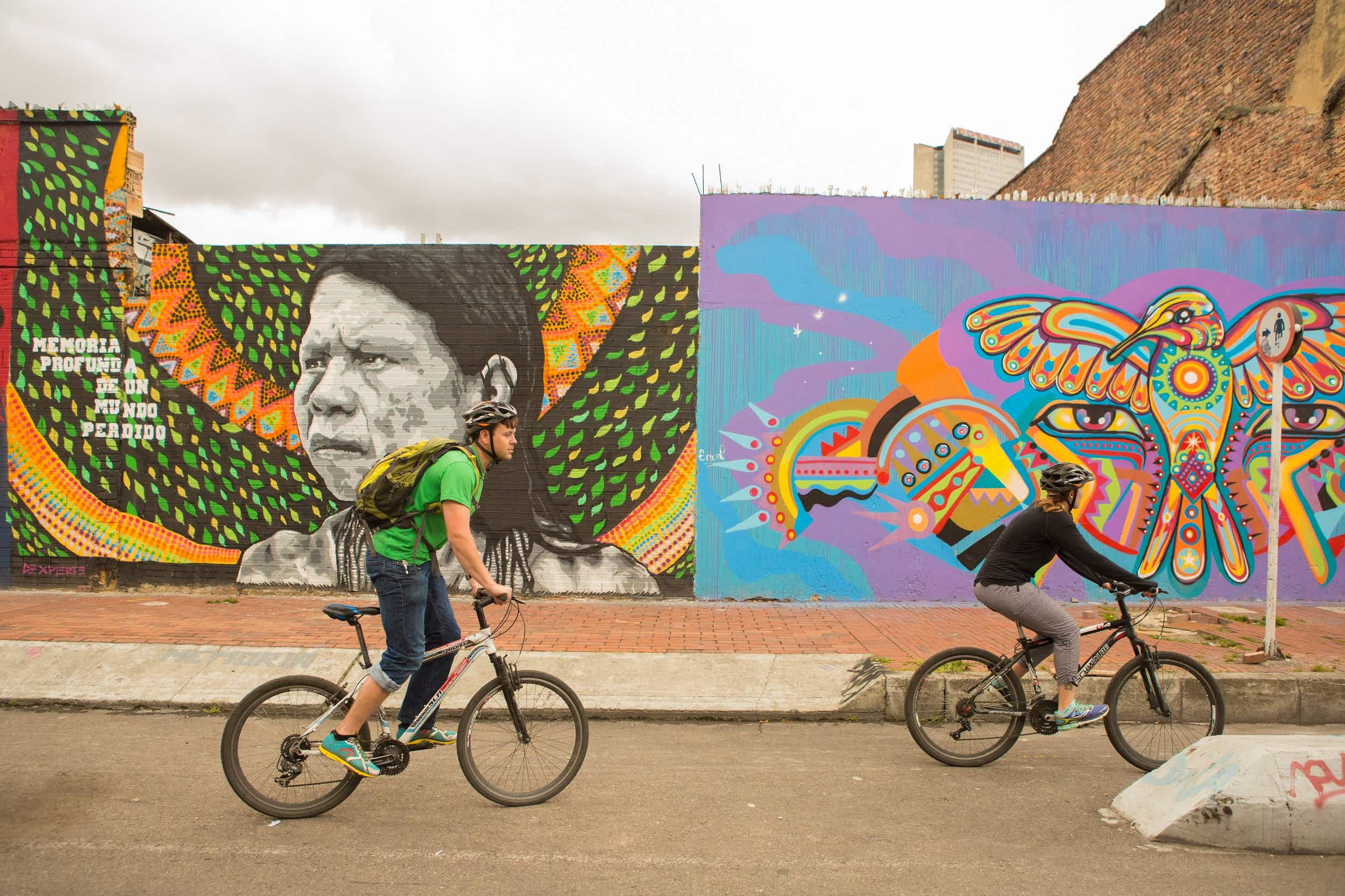 Cyclovia provides a great way of seeing some of Bogotá's best sights, such as its world-renowned street art © Kris Davidson / Lonely Planet