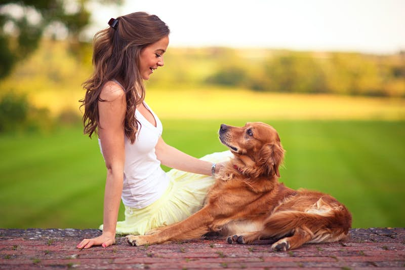 A girl and her dog sitting on the ground with a green field behind them