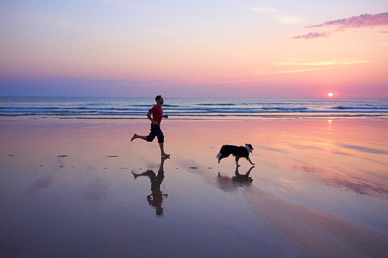 A man and his dog running on a colourful beach